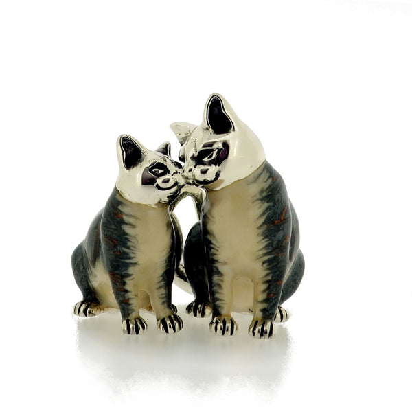 Kissing Cats - sterling silver enamel model