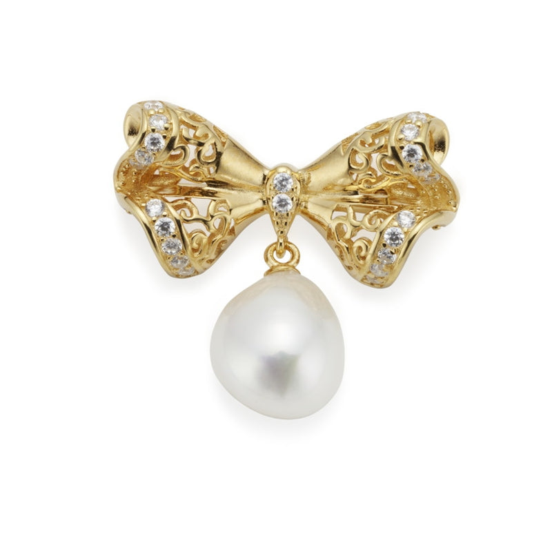 Chantilly Gilded Silver, CZ & Pearl Bow Brooch