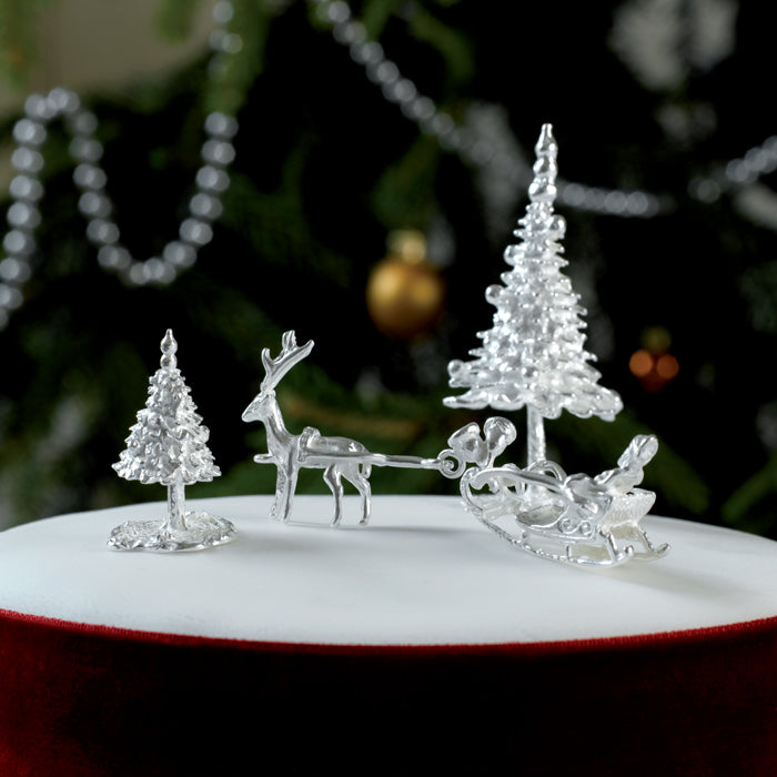 Large Sterling Silver Fir Tree Cake Decoration