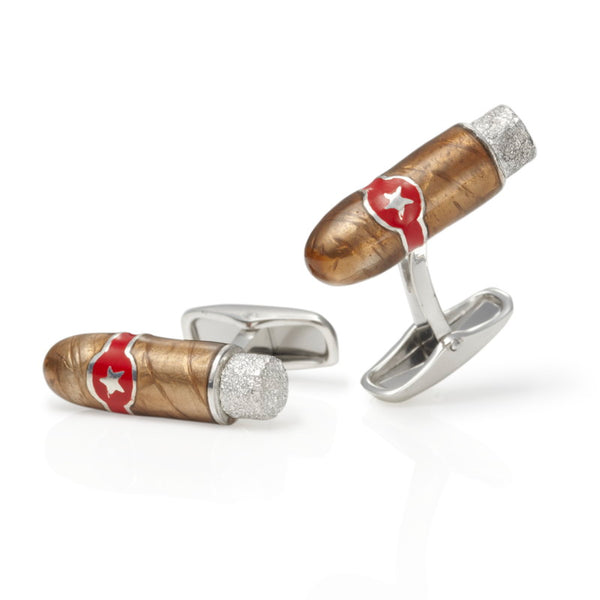 Churchill Cigar Silver & Enamel Cufflinks