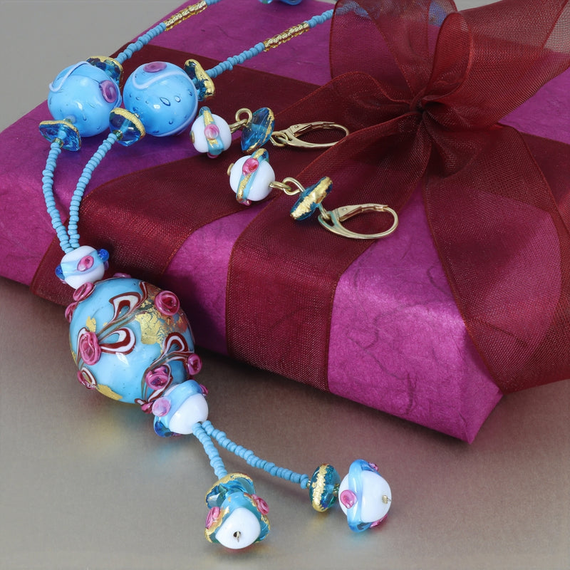 Delphina - Murano Glass Rose Pendant Necklace