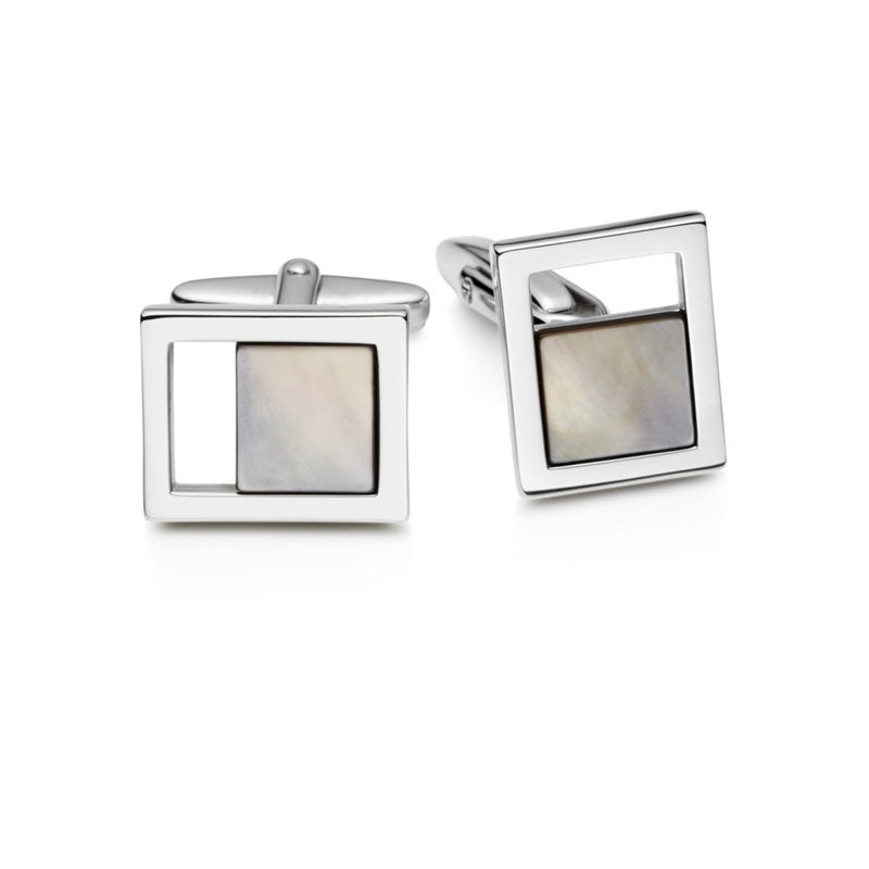 Domino Mother of Pearl Sterling Silver Cufflinks