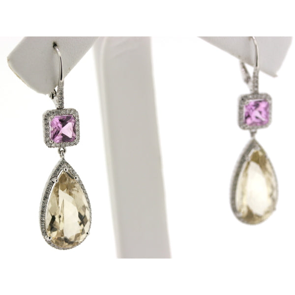Kunzite, Heliodor & Diamond Earrings FINE & RARE