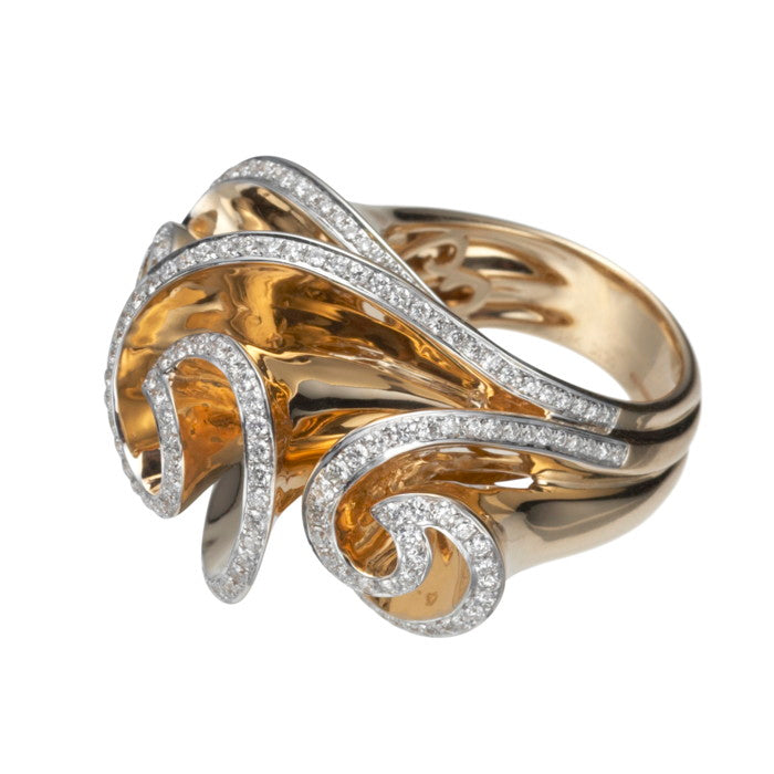 18ct Gold & Diamond Swirl Cocktail Ring FINE & RARE