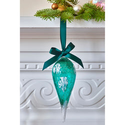 Frostflake Hand Blown Cane Glass Christmas Bauble (Green)