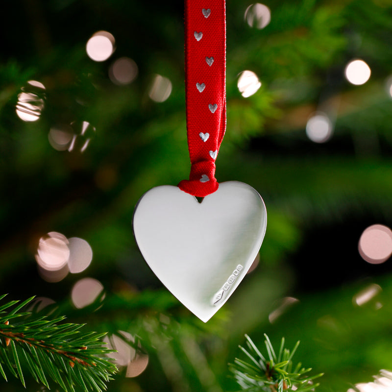 Sterling Silver Love-U-Heart Christmas Decoration (Red Ribbon)