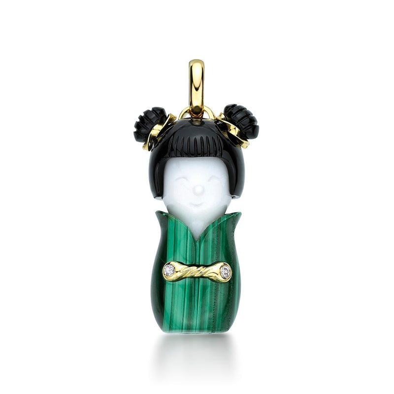 Mingmei -18ct Gold, Malachite, Agate & Diamond Pendant
