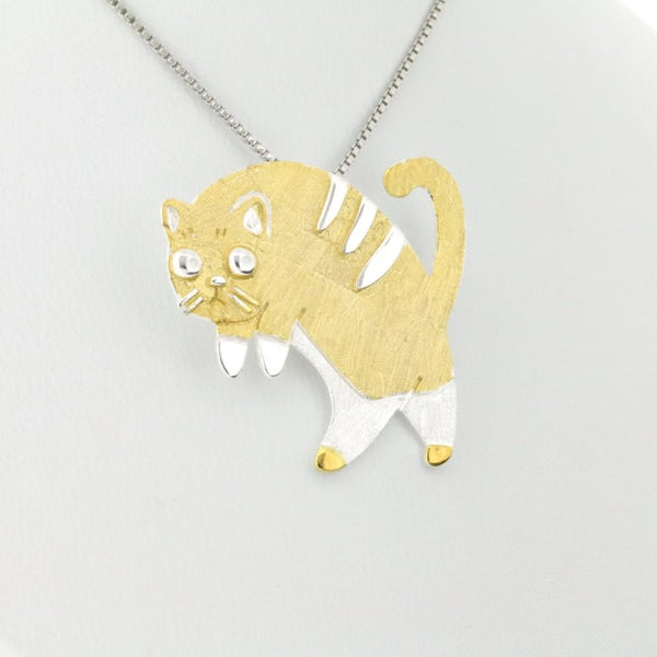 Purr the Tabby Cat Gilded Silver Pendant