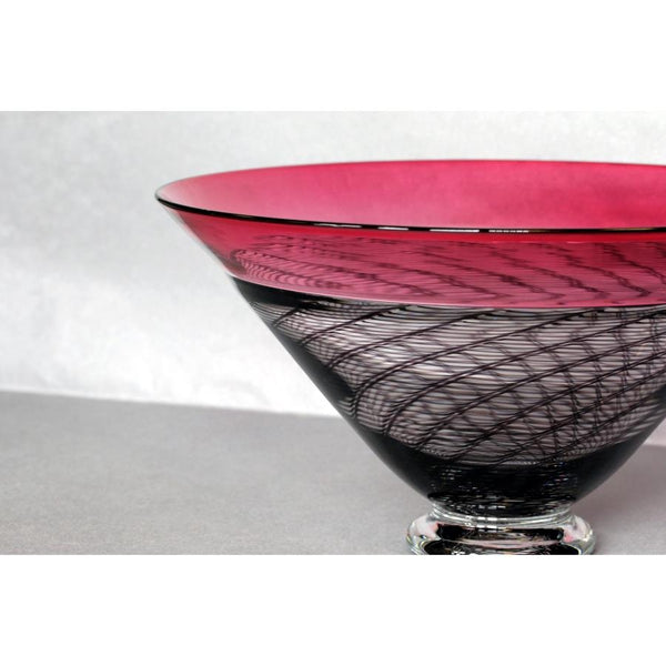 Carmen Ruby Rim Cane Glass Bowl