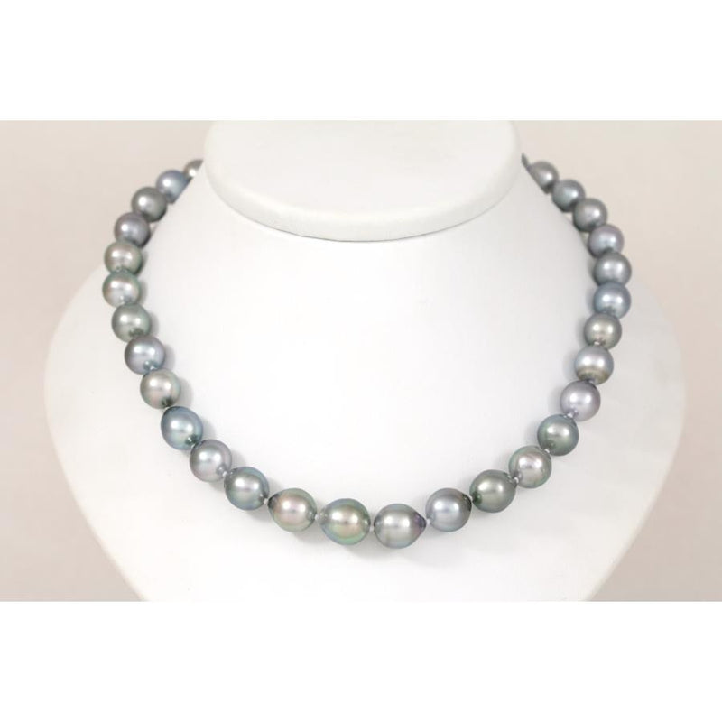 K463 Grey Tahitian 8mm to 11mm Pearl & 9ct Gold Necklace FINE & RARE