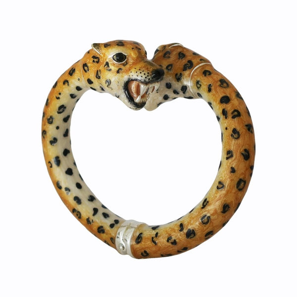 Leopard Enamel on Sterling Silver Hinged Bangle