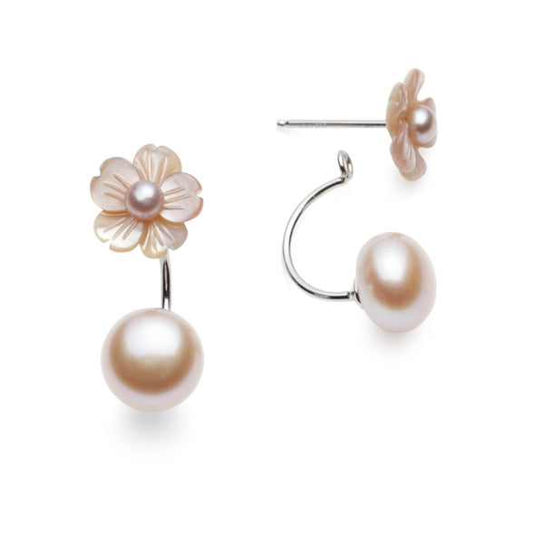 Lucie Pink Carved MOP & Pearl Earrings