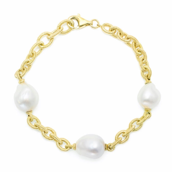 M227 18ct Gold & South Sea Baroque Pearl Bracelet FINE & RARE
