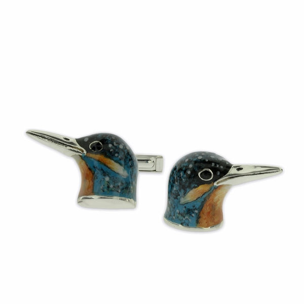 M390 Kingfisher Enamel on Sterling Silver Cufflinks