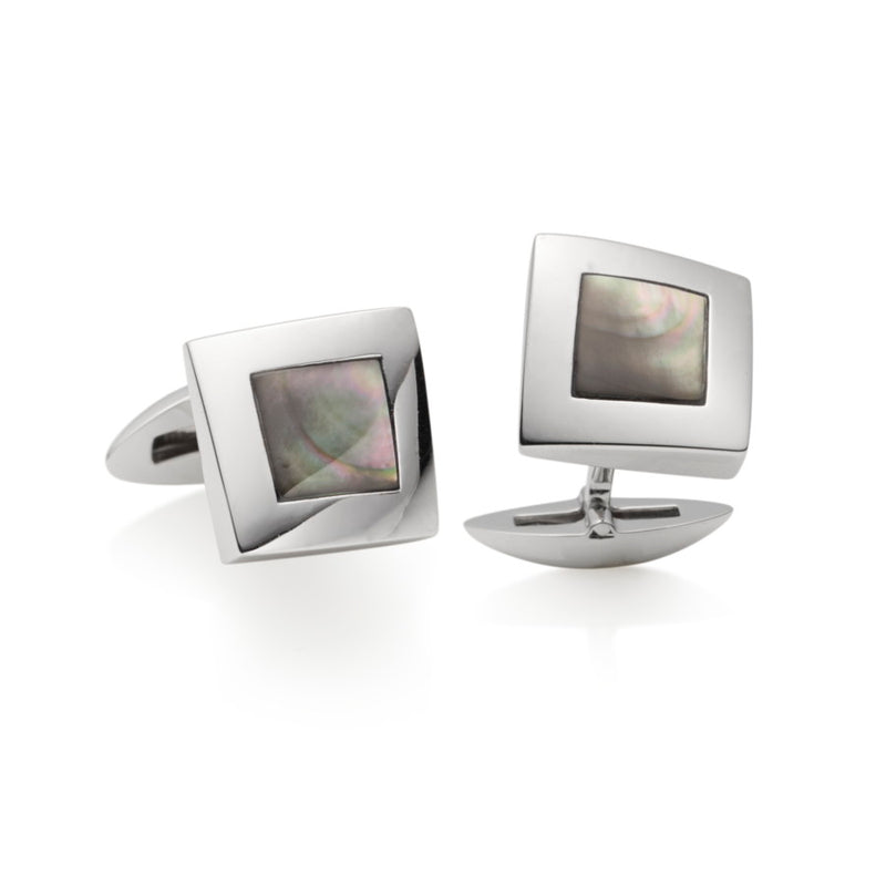 Omar Mother of Pearl Silver Cufflinks