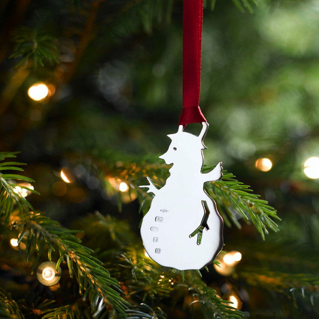 Mr Noel Snowman Silver Christmas Decoration