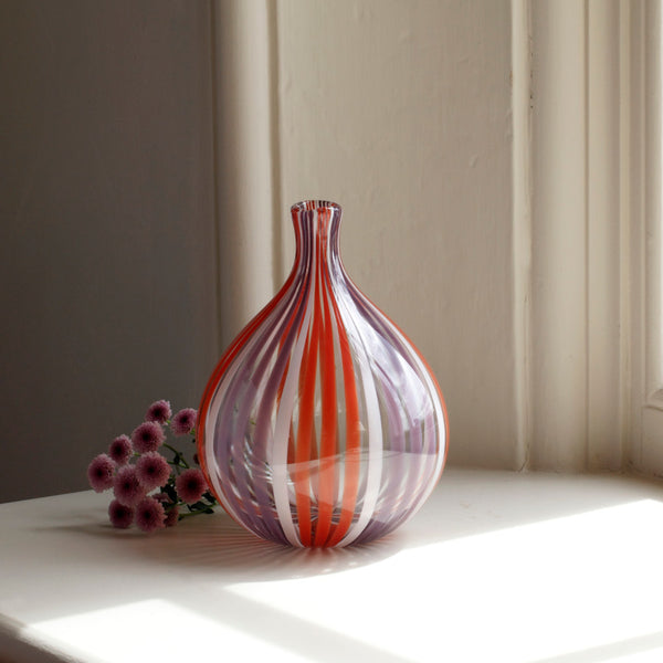 Puffin British Cane Glass Vase CLEARANCE save £30