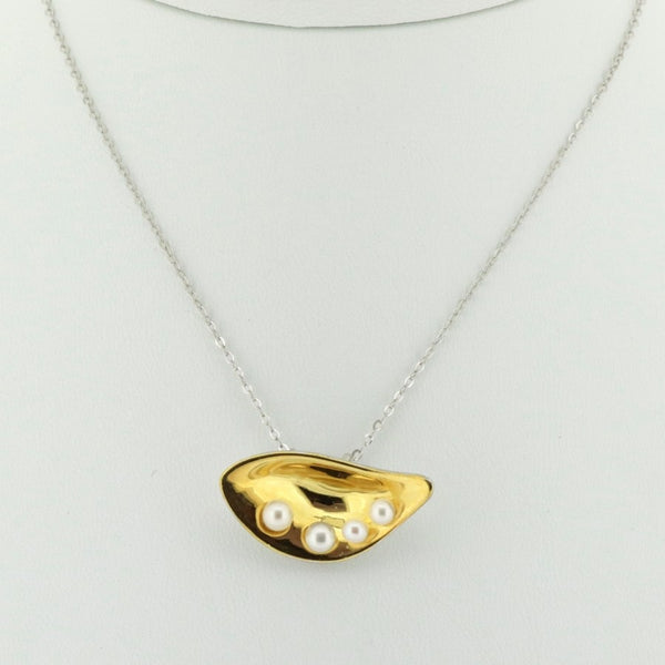 P105 Gilded Sterling Silver Shell & Pearl Pendant SAMPLE