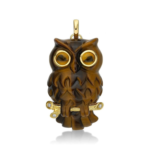 P162 Wise Owl Tigers Eye & 18ct Gold Pendant SAMPLE