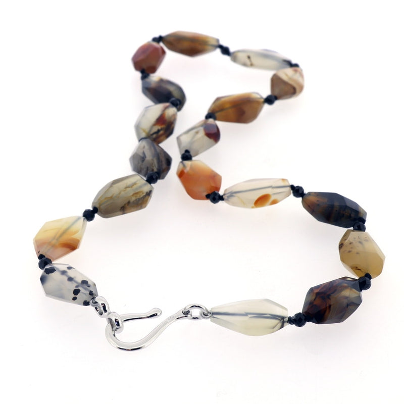 P164 Montana Moss Agate & Spinel Necklace SAMPLE
