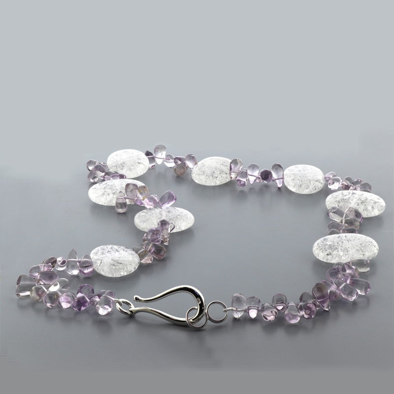 P165 Amethyst & Snowflake Quartz Necklace SAMPLE