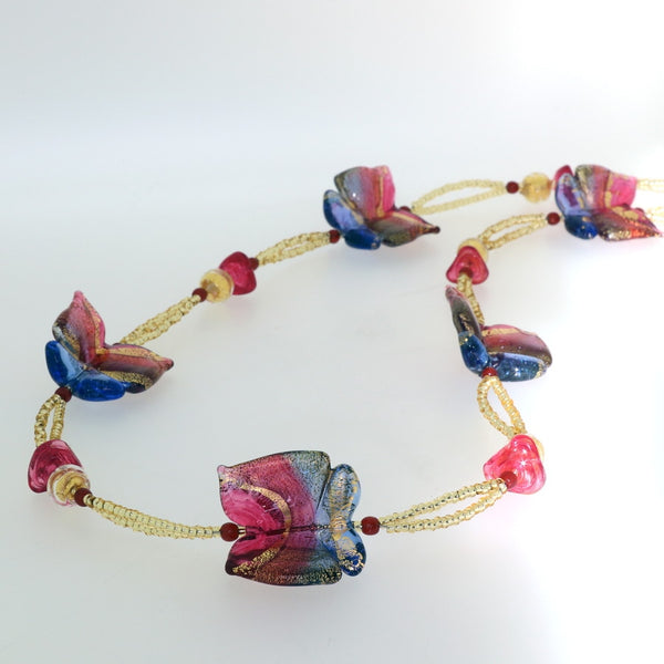 Mariposa - Murano Glass Butterfly Long Necklace