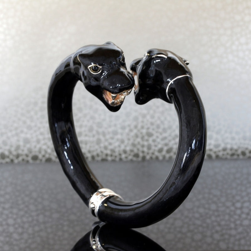 Black Panther Enamel on Sterling Silver Hinged Bangle
