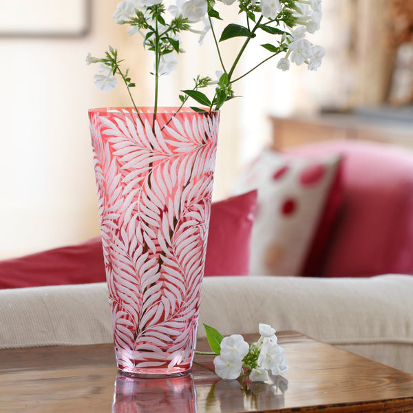 Morris Hand Engraved Bohemian Rose Glass Vase