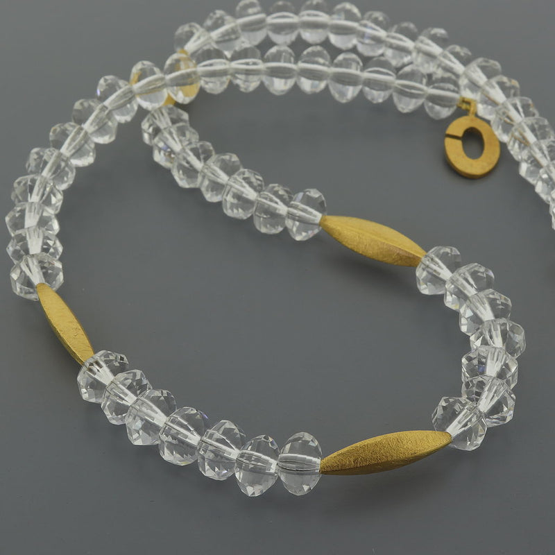 R111 Faceted Rock Crystal & Gilded Silver Necklace SAMPLE