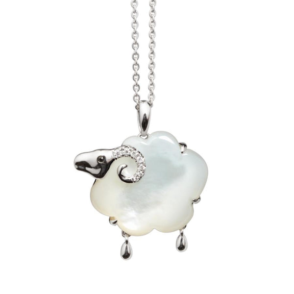 Ramsey Mother of Pearl & Diamond 18ct White Gold Pendant