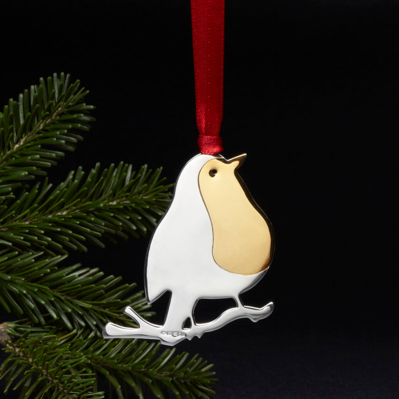 Robin Sterling Silver Christmas Decoration