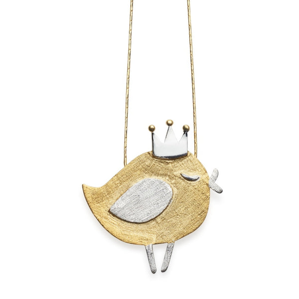 Tweet the Robin Gilded Silver Pendant