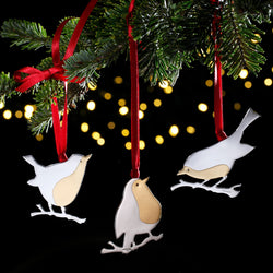 Sterling Silver Robin Christmas Tree Decoration with English Hallmarks