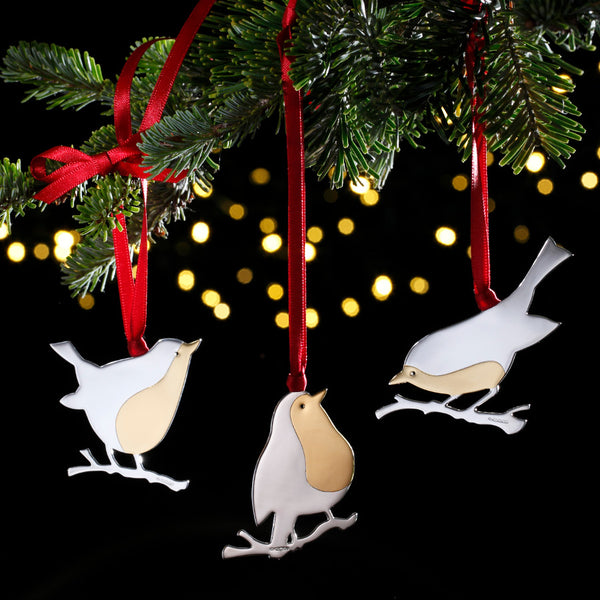 Set of 3 Robins Sterling Silver Christmas Decorations