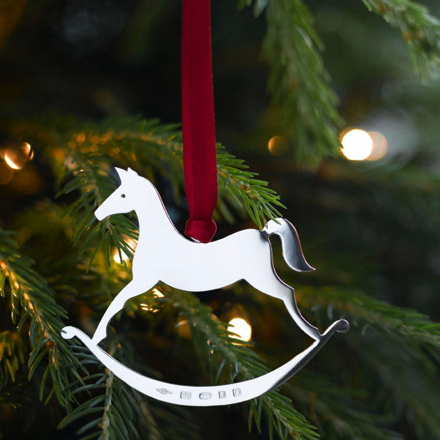Sterling Silver Rocking Horse Christmas Decoration