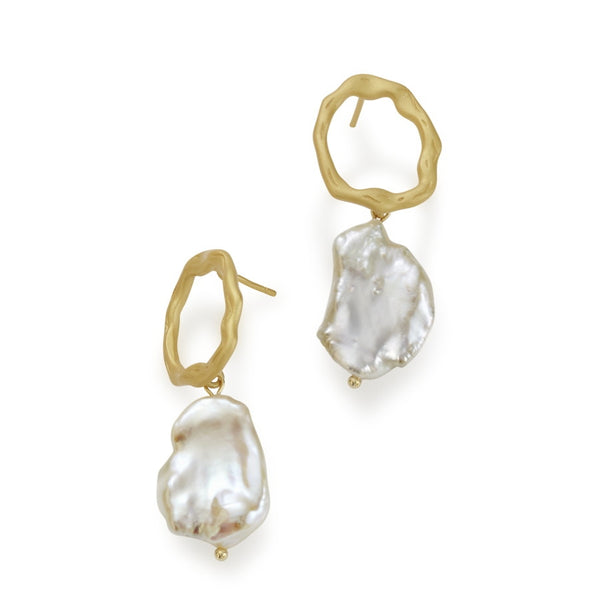 Salamanca Keshi Pearl & Gilded Silver Earrings