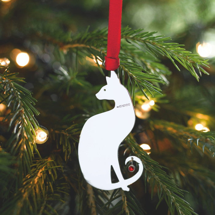 Sterling Silver Siamese Cat Christmas Tree Decoration with English Hallmarks