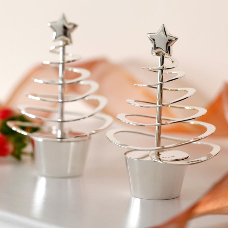 Yule Silver Christmas Tree Table Decorations (Pair)