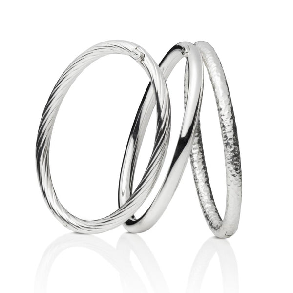 Island Sterling Silver Tube Bangles Set of 3