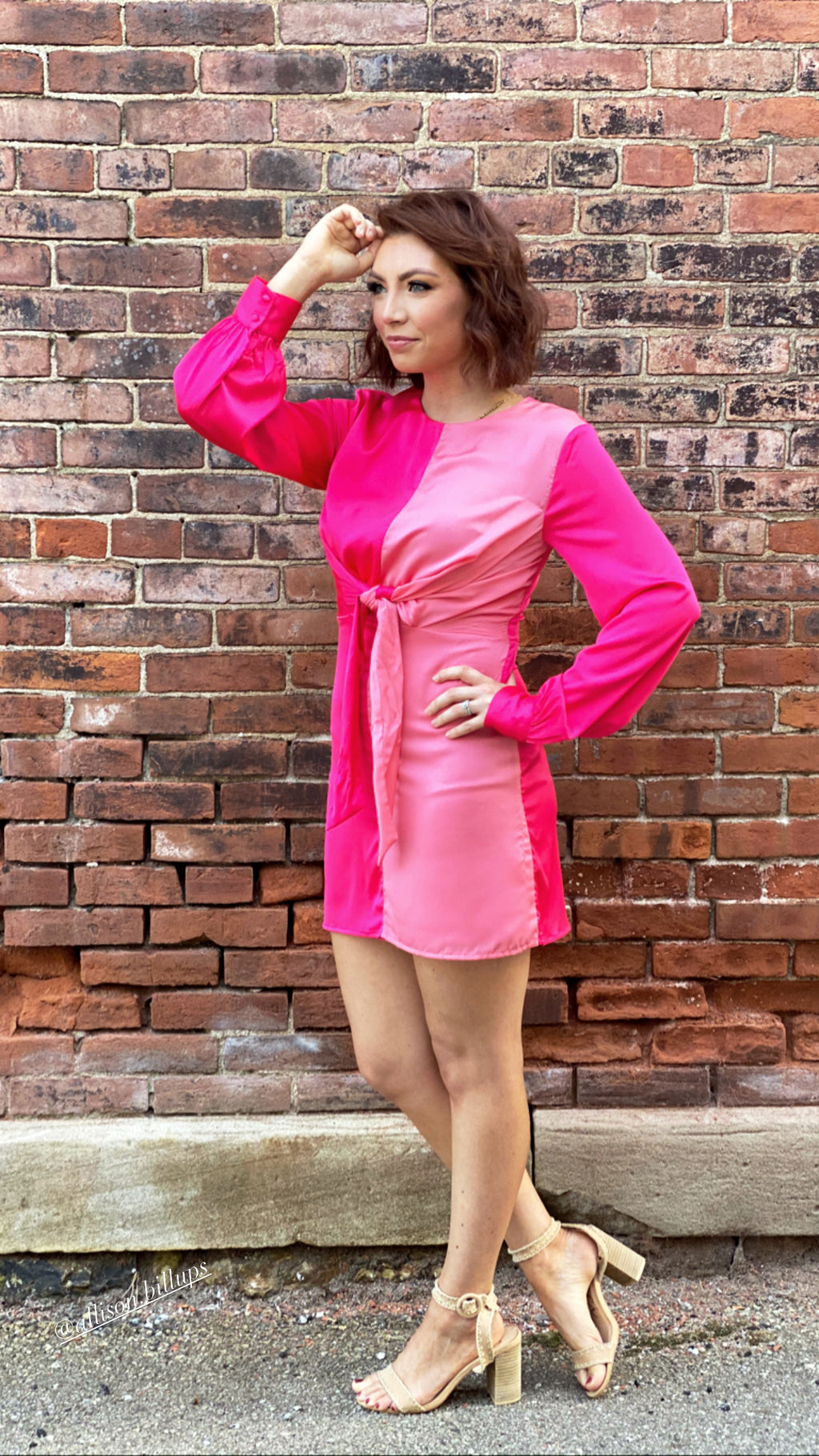 Two Toned Pink Tie Dress