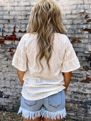 Denim Frayed Hem Shorts