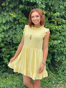 Yellow Ruffled Neck Dress