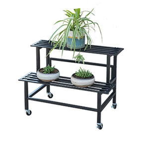2 Steps Gardening Plant Rack With Wheels for Flower Pots (Black)