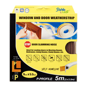 P-Profile Window & Door Seals 9x5.5mm (2x2.5m) - Weatherstrips, ,Steve & Leif - greenleif.sg