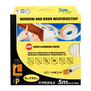 P-Profile Window & Door Seals 9x5.5mm (2x2.5m) - Weatherstrips