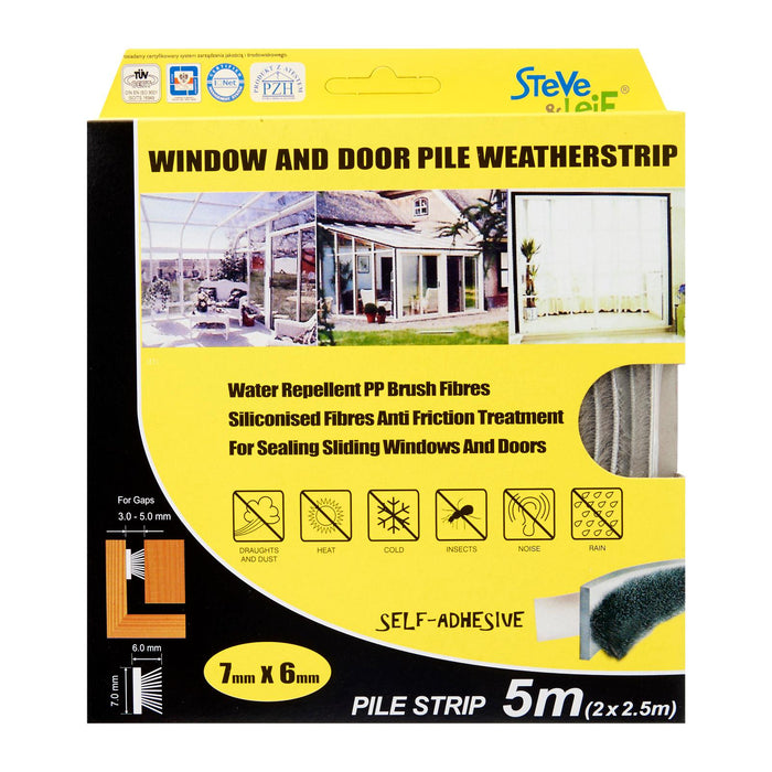 Pile Window & Door Seals Weatherstrip Grey 7x6mm (2x2.5m) -Weatherstrips
