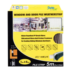 Pile Window & Door Seals Weatherstrip Grey 7x6mm (2x2.5m) -Weatherstrips, ,Steve & Leif - greenleif.sg