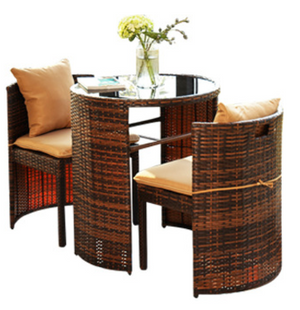 Rattan Outdoor/Indoor 3pcs Round Table & Chair Furniture Set
