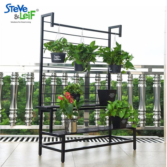 2 - 3 Steps Gardening Plant Rack With Wheels for Flower Pots (Black)