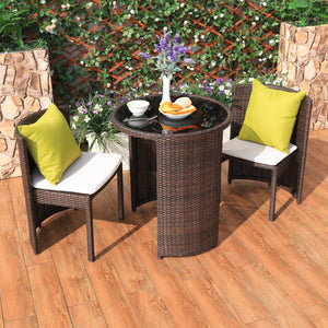Rattan Weather Proof Outdoor / Indoor 3 Pcs Round Table & Chair Furniture Set, Outdoor Furniture,Steve & Leif - greenleif.sg